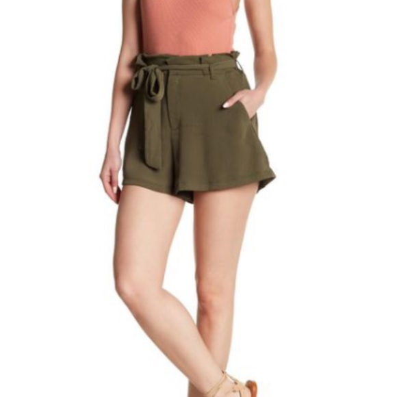 Lush Pants - LUSH Green Paperbag High Waist Bow Tie Shorts